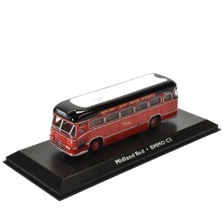 Midland Red MBBO C5 Bus Fertigmodell aus Die-Cast Metall in Vitrine 1:72