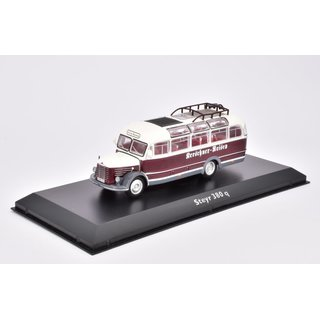 Steyr 380 q Bus Fertigmodell aus Die-Cast Metall in Vitrine 1:72