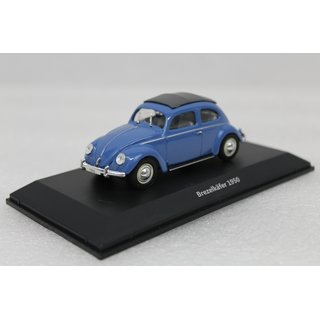VW Käfer Blau in Vitrine Maßstab 1:43 Fertigmodell Die-Cast Metall
